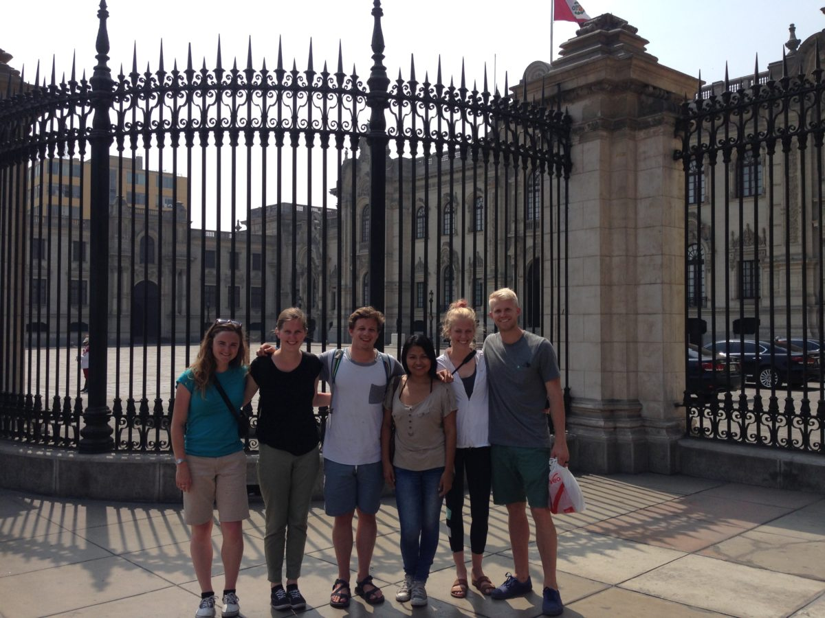 Friends In Front of Presidents House in Peru